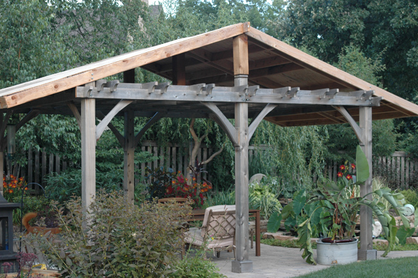 My Garden in Chicago. Ken built the structure, but we hadn't shingled it yet.
