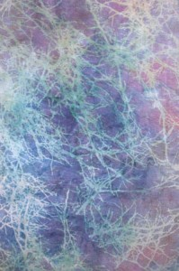 Procion MX dyed silk organza screened with vat dyes