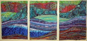 a beautiful triptych by Roz DeBoer
