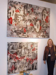 The amazing Jeanne Beck posing with her work