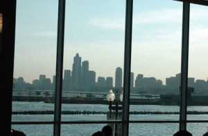 looking out the windows of Navy Pier